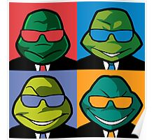 Turtles in Black - Coloured Poster