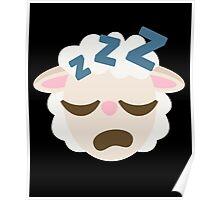 Sheep Emoji Sleepy and ZZZ Face Poster