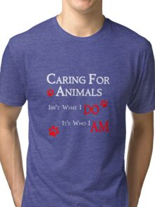 Caring For Animals Cute Cat Dog Pet Lover Design Tri-blend T-Shirt
