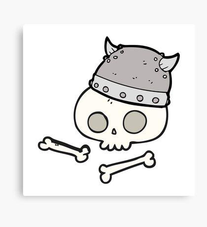 cartoon viking helmet on skull Canvas Print