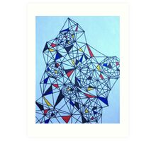 Geometric Drawing in Primary Colors; Mondrian-inspired Art Print