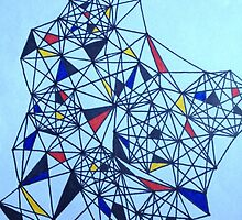Geometric Drawing in Primary Colors; Mondrian-inspired by dearmoon