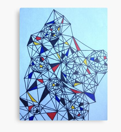 Geometric Drawing in Primary Colors; Mondrian-inspired Metal Print
