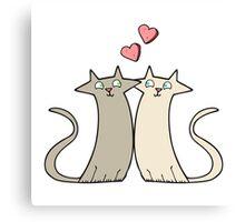 cartoon cats in love Canvas Print