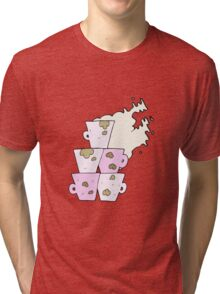 cartoon stack of dirty coffee cups Tri-blend T-Shirt