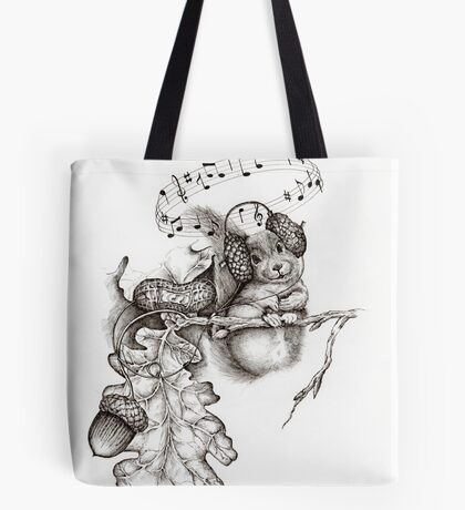 This is a squirrel listening to his MP3... Tote Bag