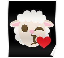 Sheep Emoji Flirting and Blowing Kiss Poster