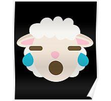 Sheep Emoji Teary Eyes and Sad Look Poster