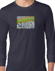 Curved Hill with Blue Rings Long Sleeve T-Shirt