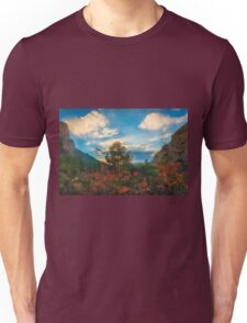 Red leaves trees and cliffs Unisex T-Shirt