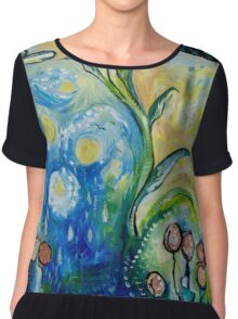 Unfurling - Leaf Painting with Clouds Chiffon Top