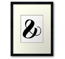 Ampersand symbol black brush calligraphy Framed Print