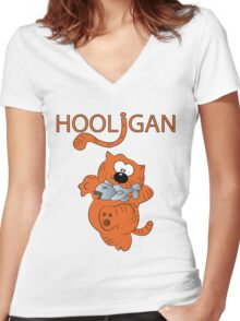 HOOLIGAN.  Women's Fitted V-Neck T-Shirt