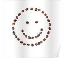Smiling face emoticon made of coffee beans Poster
