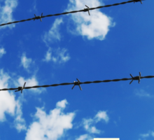 escape wording on blue sky background Sticker