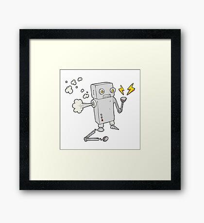 cartoon broken robot Framed Print