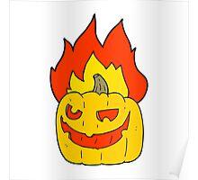 cartoon flaming halloween pumpkin Poster
