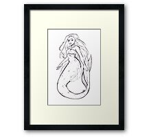 Inktober Mermaid Framed Print