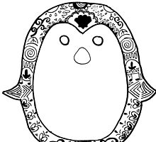 Hipster Penguin Zentangle by alexavec