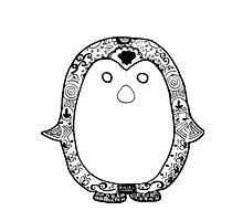 Hipster Penguin Zentangle Photographic Print