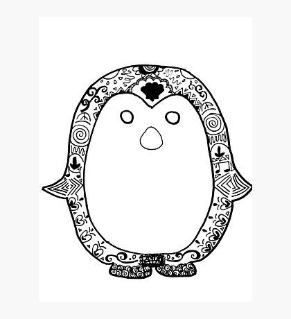 Hipster Penguin Zentangle Photographic Print