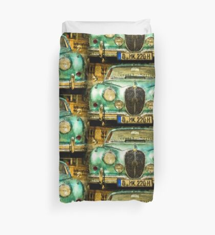Vintage Jaguar Pop Art Duvet Cover