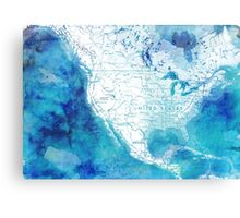 Map of North America with watercolor effects Canvas Print