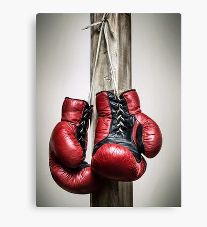 Red, vintage boxing gloves Canvas Print