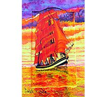 An Acrylic painting of a Clipper Ship Wearing Red Sails Photographic Print