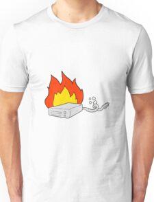 cartoon computer hard drive burning Unisex T-Shirt