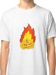 cartoon flaming halloween pumpkin Classic T-Shirt