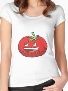 cartoon tomato Women's Fitted Scoop T-Shirt