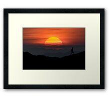 Man Walking at Mountains Landscape Illustration Framed Print