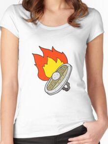 cartoon shield burning Women's Fitted Scoop T-Shirt