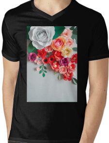 Paper flowers Mens V-Neck T-Shirt