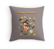 Happy Halloween Corgi Throw Pillow