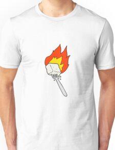 cartoon flaming tofu on fork Unisex T-Shirt