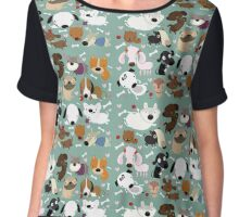 Dog pattern Chiffon Top
