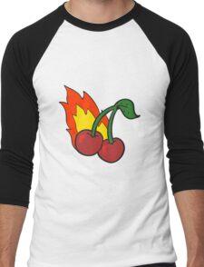 cartoon flaming cherries Men's Baseball ¾ T-Shirt