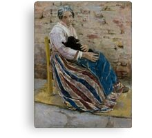 An Old Woman with Cat - Max Liebermann - 1878 Canvas Print