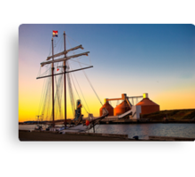 Sunset, sails and silos Canvas Print
