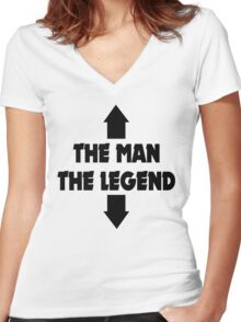 THE MAN THE LEGEND FUNNY ADULT JOKE Women's Fitted V-Neck T-Shirt
