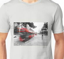 Red double-decker bus on the street of London Unisex T-Shirt