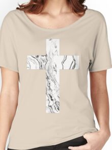 Christian cross marble black and white geometric Scandinavian modern Women's Relaxed Fit T-Shirt