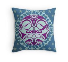 Traditional purple Mask on blue background. Throw Pillow