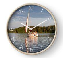 Single white sailing boat Clock
