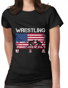 Wrestling American Team Womens Fitted T-Shirt