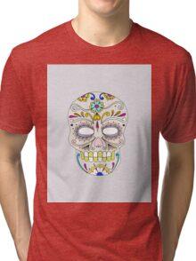 Sugar skull mexican folk art Tri-blend T-Shirt