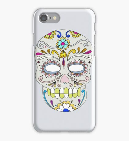 Sugar skull mexican folk art iPhone Case/Skin