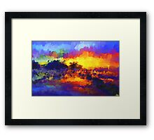 sunset sunrise abstract impressionist bright  Framed Print